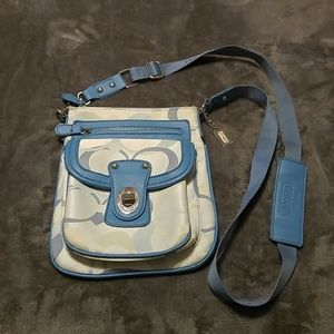 Coach blue and white jacquard crossbody